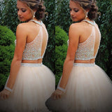 Illusion Two Piece Open Back Short Homecoming Dresses With Beading ,Short Prom Dresses,BDY0169