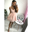 Short Cheap Simple V Neck Blush Pink Lace Homecoming Dresses CM518