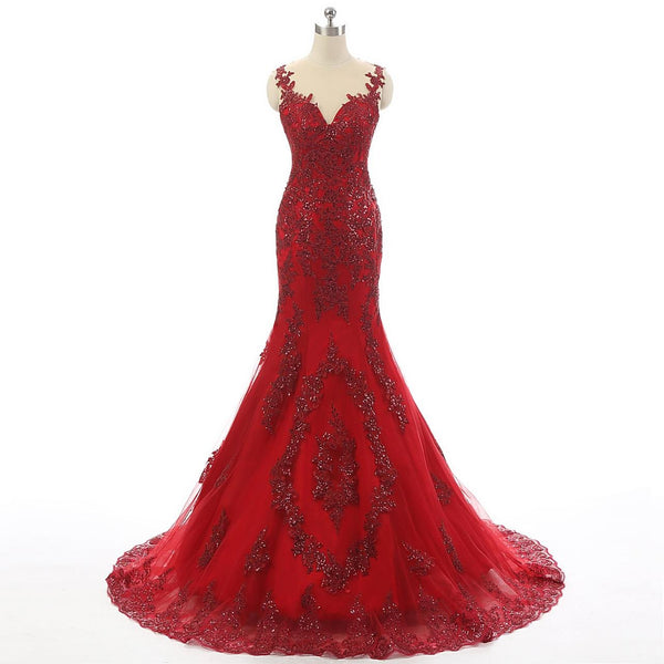 2017 Red Tulle Lace Rhinestone Luxury Real Made Long Prom Dresses, BG0078