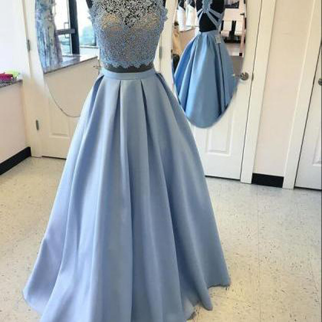 High Fashion Two-Piece A-Line Blue Satin Long Prom Dress with Lace , Fashion Gown. PDY0186