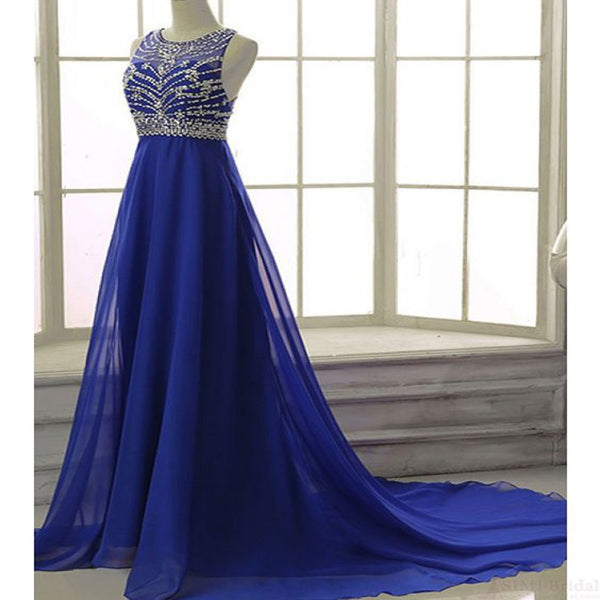 2019  High Fashion Elegant Beading Bodice Chapel Train Chiffon Prom Dresses Evening Dresses , Fashion Gown. PDY0190
