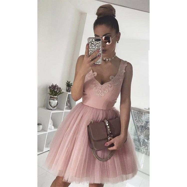 Cheap V Neck Tulle Cute Pink Homecoming Dresses  CM439