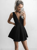 A-Line Deep V-Neck Short Black Satin Homecoming Dresses,Short Prom Dresses,BDY0333