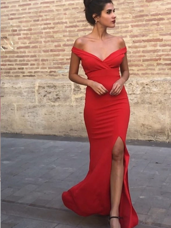 Sheath Off-the-Shoulder Red Satin Prom Dresses,Cheap Prom Dresses,PDY0491