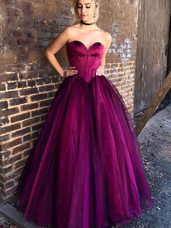 Sweetheart Floor-length Purple Tulle Evening Dresses ,Cheap Prom Dresses,PDY0586