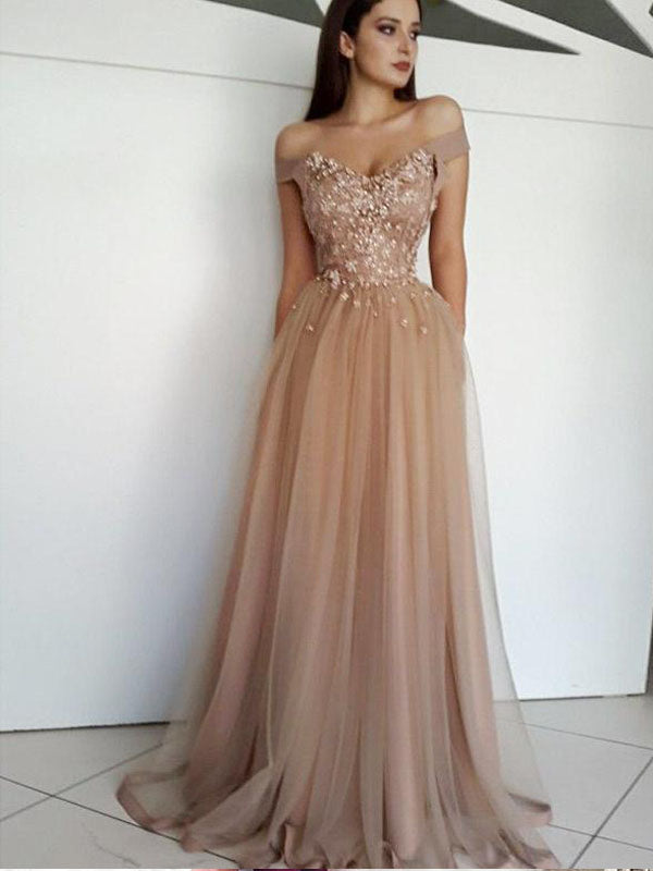A-Line Off-The-Shoulder Long Prom Evening Dress ,Cheap Prom Dresses,PDY0539