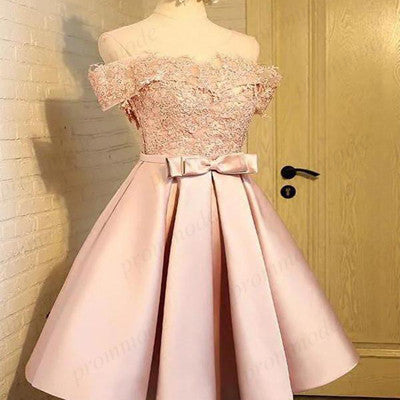 Off-The-Shoulder Pink Lace Homecoming Dresses ,Short Homecoming Dresses,BDY0207