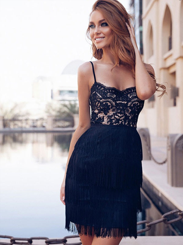 Sexy Sheath Spaghetti Straps Black Lace Homecoming Dress,Short Prom Dresses,BDY0342