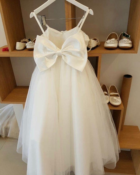 A-line Strapless, Straps White Tulle Flower Girl Dresses,Cheap Flower Girl Dresses ,FGY0249