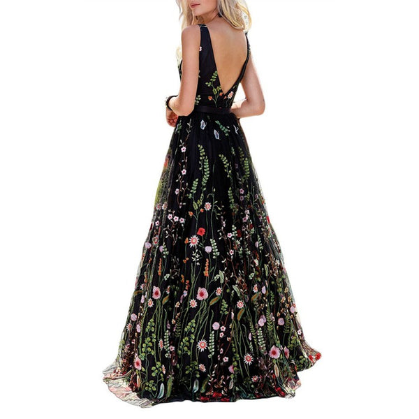 Gorgeous Black Floral V Neck A Line Long Prom Dress,Graduation Dresses,PDY0373