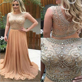 2019 Sparkle Rhinestone Beaded Long A-line Chiffon Prom Dresses, BG0080