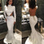 High Neck Simple Design Long Sleeve Backless Rhinestone Belt Mermaid Prom Dresses, BG0082