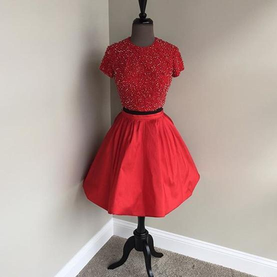 Two Pieces Short Sleeves High Neck Short Red Homecoming Dresses  CM521