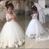 Cute Tulle & Lace White Ball Gown Flower Girl Dresses ,Cheap Flower Girl Dresses ,FGY0164