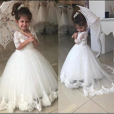 a2fc5bc39edb Cute Tulle & Lace White Ball Gown Flower Girl Dresses ,Cheap Flower Gi –  prommode