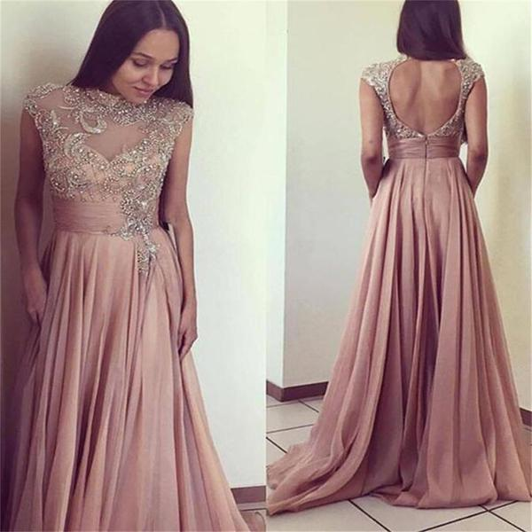 Long A-line Rhinestone Beaded Open Back Chiffon Prom Dresses, BG0083