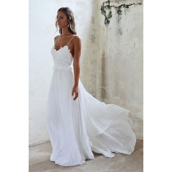 Simple White Spaghetti Straps Long Lace Wedding Dresses, Cheap Wedding Dresses, WDY0208
