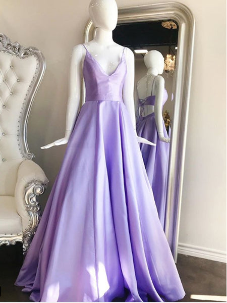 A-line Spaghetti Straps Purple Satin Long Prom Dresses,Cheap Prom Dresses,PDY0508