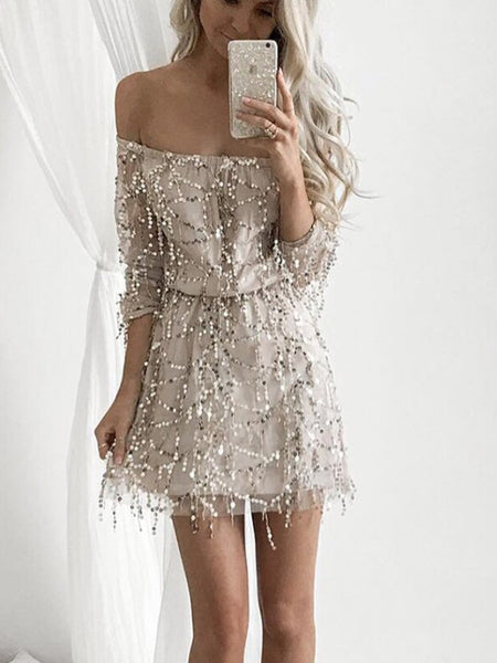 A-Line Off Shoulder Long Sleeves Sequined Homecoming Dress,Short Prom Dresses,BDY0334