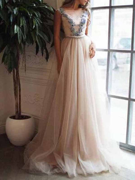 A Line Applique V-back Ivory Tulle Evening Dresses,Cheap Prom Dresses,PDY0568