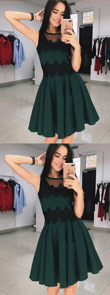 A-Line Round Neck Green Short Lace Homecoming Dress,Short Prom Dresses,BDY0343