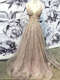 A-line V-Neck Appliques Long Evening Dresses,Cheap Prom Dresses,PDY0629