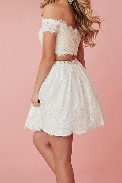 Two Pieces Off Shoulder White Lace Homecoming Dresses,Cheap Short Prom Dresses,BDY0252