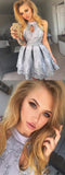Stunning High Neck Grey Lace Homecoming Dresses,Cheap Short Prom Dresses,BDY0254