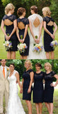 Charming  Lace Navy Blue Open Back Knee-Length Short Mini  Cheap Bridesmaid Dresses, WGY0103