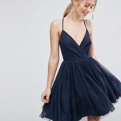 Navy Short Homecoming Dresses with Straps