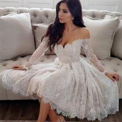 Long Sleeves Off Shoulder Ivory Lace Homecoming Dresses,Cheap Short Prom Dresses,BDY0257