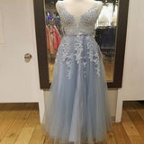 Sexy Backless V Neck Grey Lace Tulle Long Evening Prom Dresses,  Pretty Party Prom Dresses PDY0179