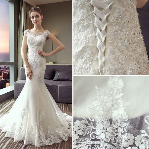 Mermaid Scoop White Tulle Wedding Dresses.Cheap Wedding Dresses, WDY0277
