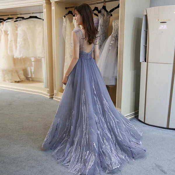 A-line V-neck Grey Tulle Prom Dress With Applique ,Cheap Prom Dresses,PDY0413