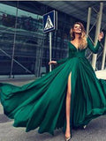A-line V-neck Long Sleeves Dark Green Satin Prom Dress ,Cheap Prom Dresses,PDY0405