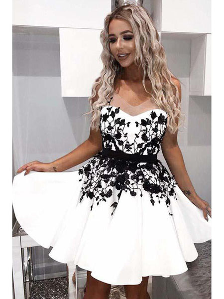 A-Line Scoop Homecoming Dress With Black Applique,Short Prom Dresses,BDY0356