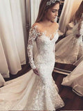 Mermaid Open Back White Lace Wedding Dresses.Cheap Wedding Dresses, WDY0274
