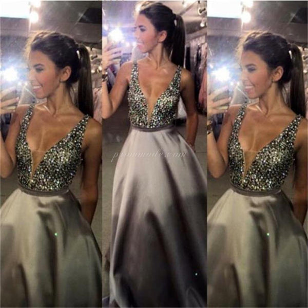 Charming V-Neck Sexy Popular A-Line Evening  Sparkly Custom Long Prom Dresses Online,PDY0153