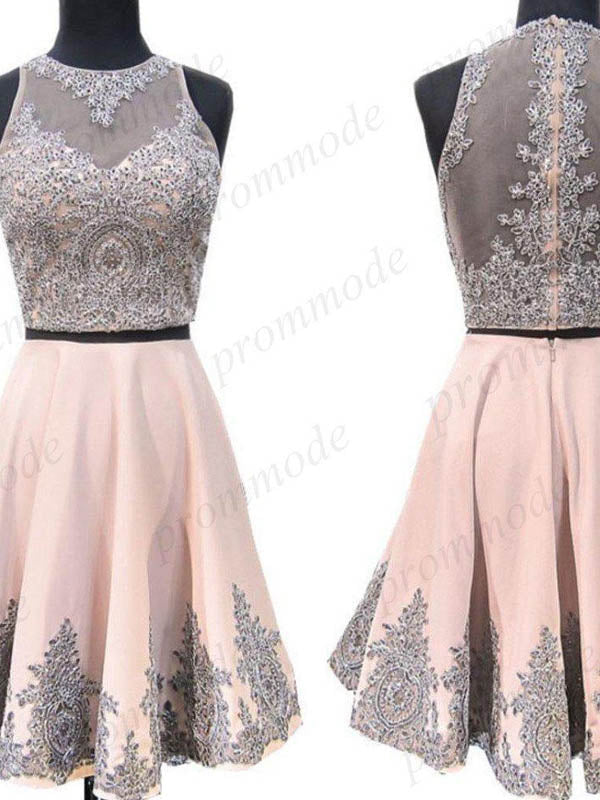 Shinning Two Piece Pink Beaded Homecoming Dresses With Lace Applique,BDY0179