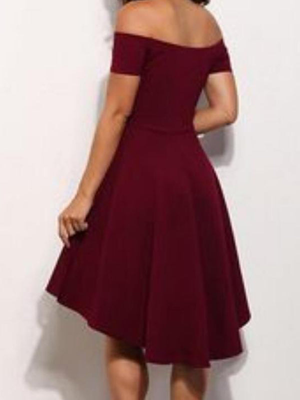 Off-the-Shoulder Burgundy Homecoming Dresses,Cheap Short Dresses,BDY0258
