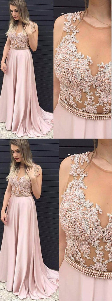 Pink A-line Prom Dress,Beaded Prom Dress,Sexy Party Dress,Custom Made Evening Dress PDY0295