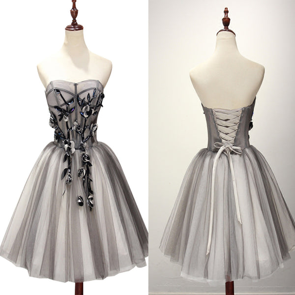 Cute Gray Tulle  A-line Teenagers Short Prom Dress With Beading, Homecoming Dress,BDY0150