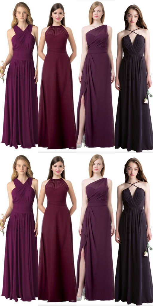 Different Styles Burgundy Chiffon Bridesmaid Dresses,Cheap Bridesmaid Dresses,WGY0353