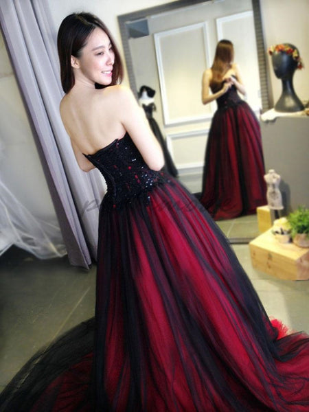 Charming Burgundy Lace Tulle A Line Strapless Long Prom Dress ...