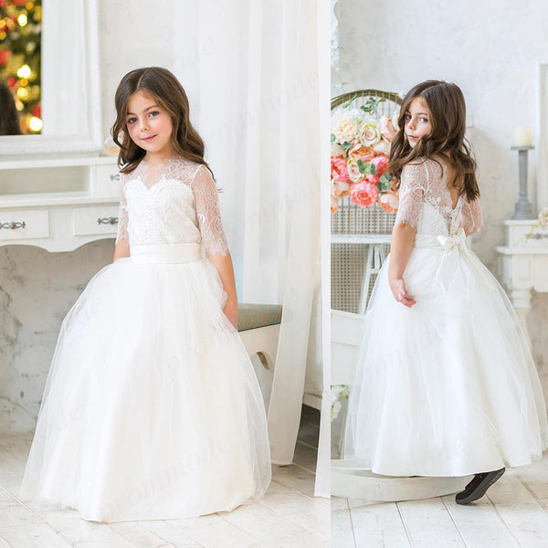 White Long Sleeves  A-line Tulle & Lace Flower Girl Dress,Cheap Flower Girl Dresses,FGY0183