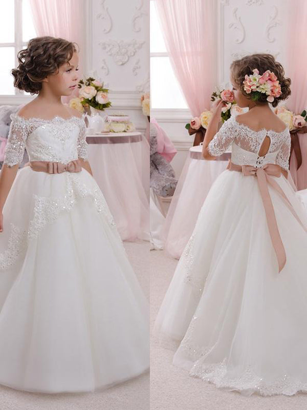 New Lovely Flower Girl Dresses For Weddings Off Shoulder Short Sleeve Ball Gown Formal Custom First Communion Dress Child Party Gowns,FGY0149