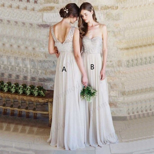 A-Line Sweetheart Light Grey Chiffon Lace Long Bridesmaid Dress,Wedding Party Dresses,WGY0228