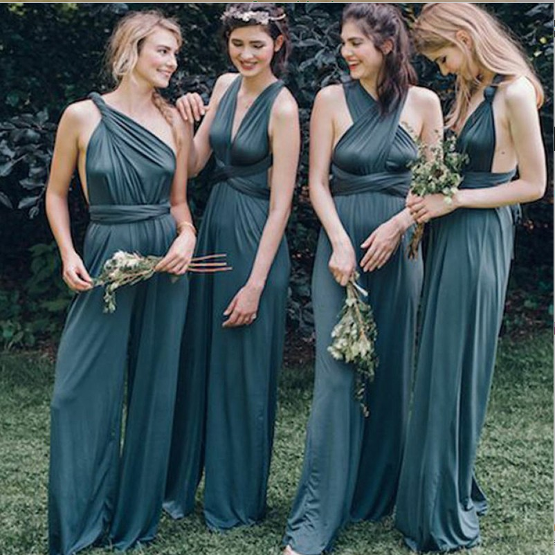 V-neck Backless Blue Chiffon Bridesmaid Jumpsuit,Cheap Bridesmaid Dresses,WGY0349