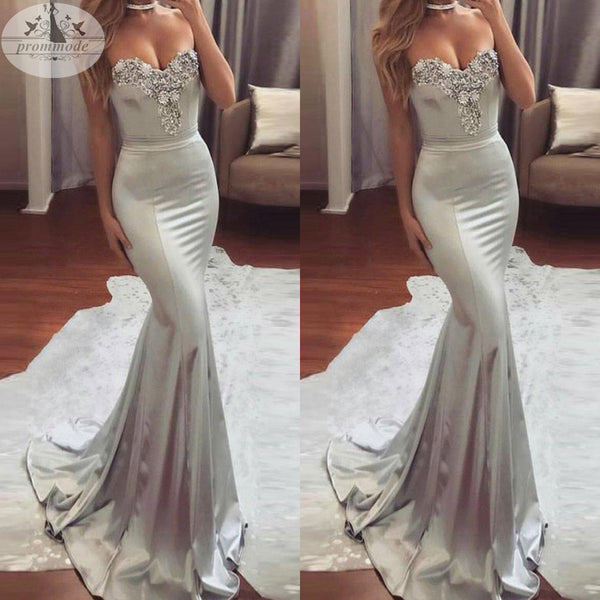 Mermaid Sweetheart Sweep Train Satin Prom Dress with Beading,Party Dresses, Evening Dresses,PDY0315