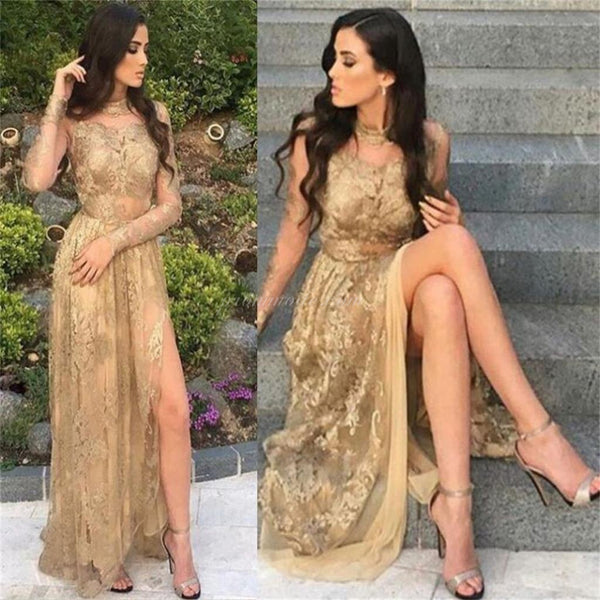 2019 Gold Lace Long Sleeveless Prom Dresses, Fashion Modern Prom Dress, Party Dress, PDY0109